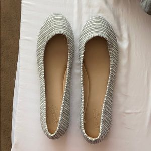 Gray and White Striped Flats